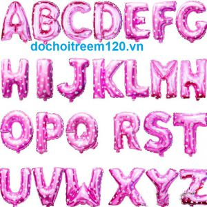 Bong bóng kiếng chữ cái (A - Z) màu hồng/xanh/vàng/bạc