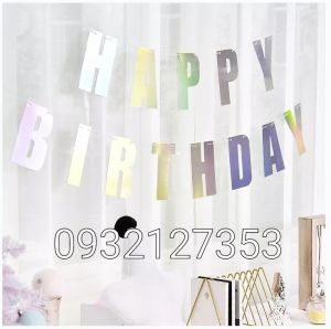DÂY CHỮ HAPPY BIRTHDAY ÁNH KIM BẠC DÀI 2M