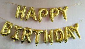 bóng kiếng kt 35cm chữ   HAPPY BIRTHDAY màu vàng