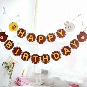 DÂY CHỮ HAPPY BIRTHDAY GẤU BẰNG GIẤY DÀI 2M