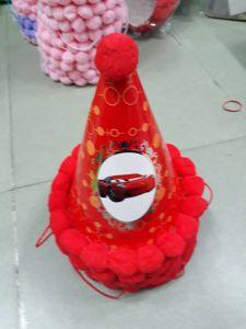 Nón giấy sinh nhật nhỏ cao 18cm viền bông màu Đỏ hình xe hơi Giá 9k 1 cái