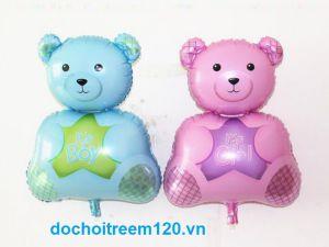 Bong bóng kiếng hình gấu ngồi có 2  màu xanh/ hồng kt 60cm