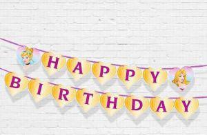 DÂY HAPPY BIRTHDAY CHỦ ĐỀ  CÔNG CHÚA BẰNG GIẤY DÀI 2M