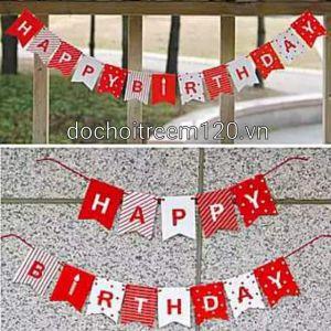 DÂY HAPPY BIRTHDAY MÀU ĐỎ BẰNG GIẤY DÀI 2M