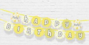 DÂY HAPPY BIRTHDAY CHỦ ĐỀ MÀU VÀNG BẰNG GIẤY DÀI 2M