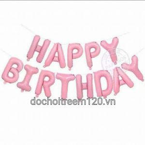 bóng kiếng chữ kt 35cm HAPPY BIRTHDAY màu hồng nhạt