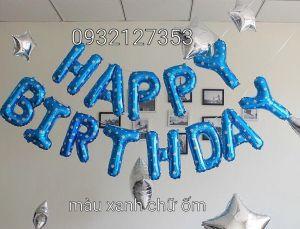 HAPPY BIRTHDAY bóng kiếng màu xanh chấm tim chữ ốm