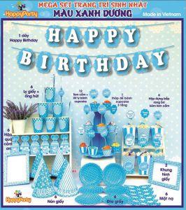 Sét chữ HAPPY BIRTHDAY bóng kiếng kt 35cm màu xanh chấm mới
