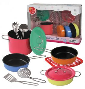 Bộ đồ chơi nấu ăn inox màu 11 món
