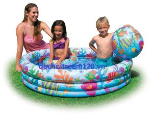 Hồ  bơi phao 3 món cho bé Intex kt 1m32x28cm