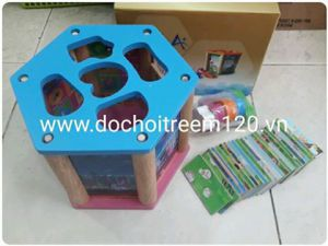 Hộp đồ chơi gỗ lục giác Enfa