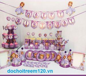 Set trang tri sinh nhật 12 món mẫu CÔNG CHÚA SOFIA