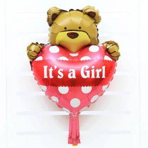 Bong bóng kiếng hình gấu hồng 'it's a girl' mini 45cm
