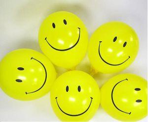 10 bong bóng cao su  tròn mặt cười màu vàng 25cm