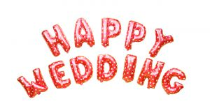 Set bong bóng kiếng chữ HAPPY WEDDING (đỏ/hồng/vàng/bạc)