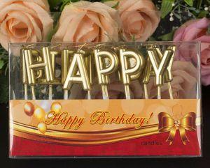 Vỉ nến happy birthday vàng đồng
