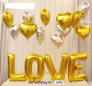 Set wedding #5 bong bóng kiếng trang trí 16 món (LOVE vàng)