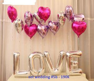 Set wedding #5b bong bóng kiếng trang trí 16 món (LOVE bạc)