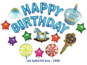 Set#4  bong bóng kiếng Birthday Boy 25 món