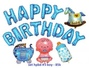 Set #5 bong bóng kiếng Birthday Boy 17 món