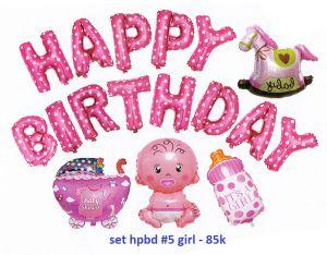 Set #5 bong bóng kiếng Birthday Girl 17 món