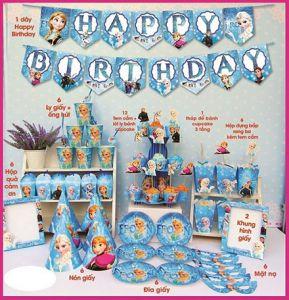 Bộ phụ kiện trang trí sinh nhật theo chủ đề 11 món - tặng 1 bong bóng kiếng 45cm (có nhiều chủ đề)