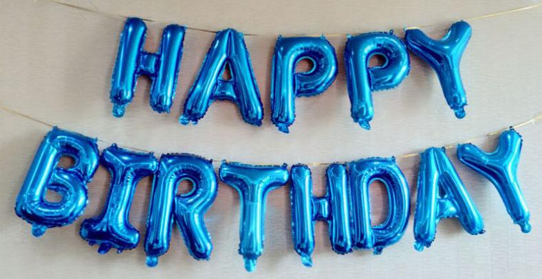 bóng kiếng kt 35cm  chữ HAPPY BIRTHDAY màu xanh dương