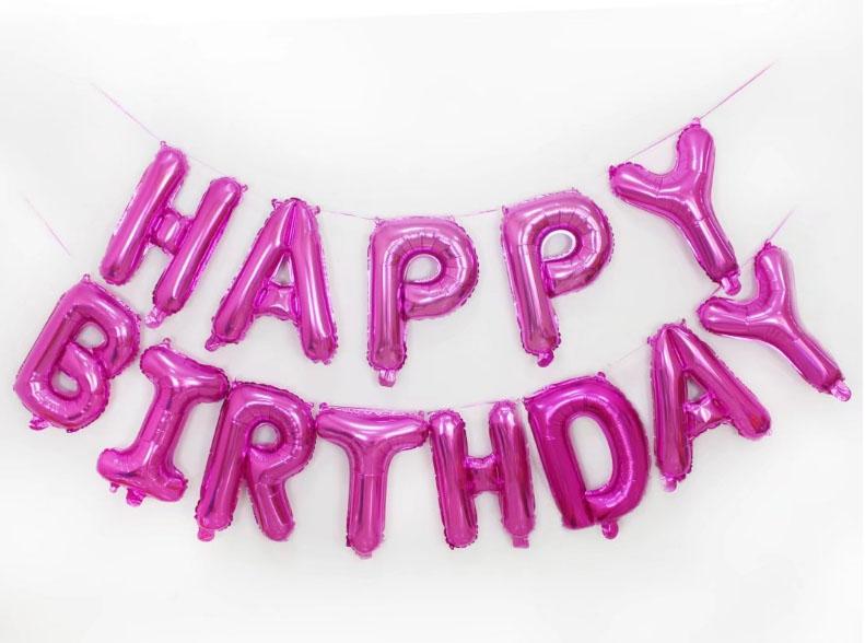 bóng kiếng kt 35cm  chữ HAPPY BIRTHDAY màu hồng sen trơn