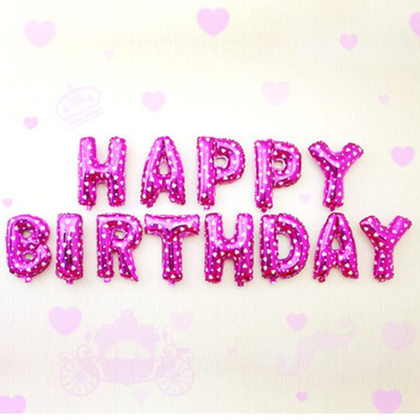 Sét chữ  HAPPY BIRTHDAY bóng kiếng kt 35cm màu tím