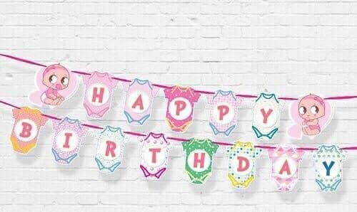 DÂY HAPPY BIRTHDAY CHỦ ĐỀ BABY GIRL BẰNG GIẤY DÀI 2M