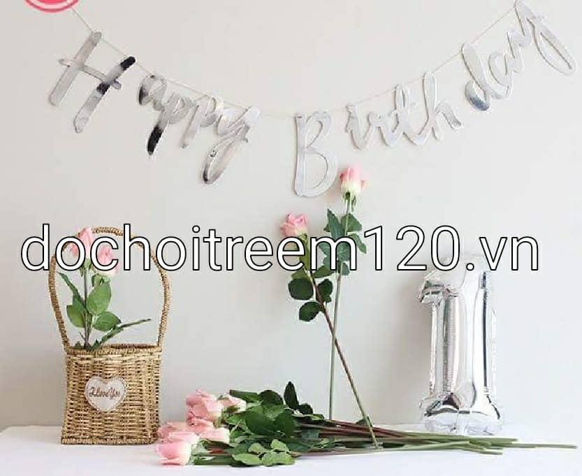 DÂY BẰNG GIẤY HAPPY BIRTHDAY CHỮ ÁNH KIM BẠC DÀI 1M
