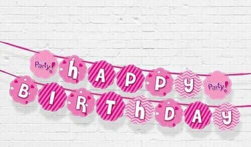 DÂY HAPPY BIRTHDAY CHỦ ĐỀ MÀU HỒNG BẰNG GIẤY DÀI 2M