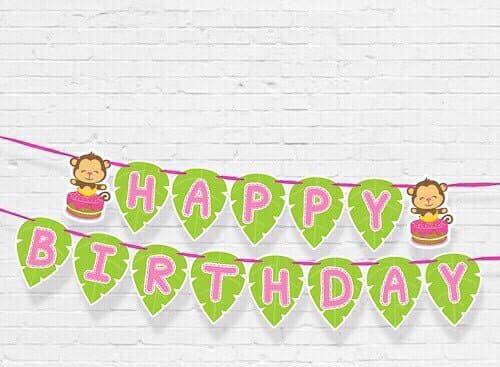 DÂY HAPPY BIRTHDAY CHỦ ĐỀ  KHỈ HỒNG BẰNG GIẤY DÀI 2M