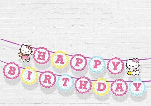 DÂY HAPPY BIRTHDAY CHỦ ĐỀ KITTY BẰNG GIẤY DÀI 2M