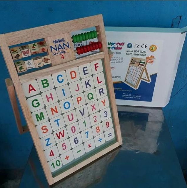 Bảng xếp học chữ & số nam châm gỗ Đức Thành quà tặng Nestlle
