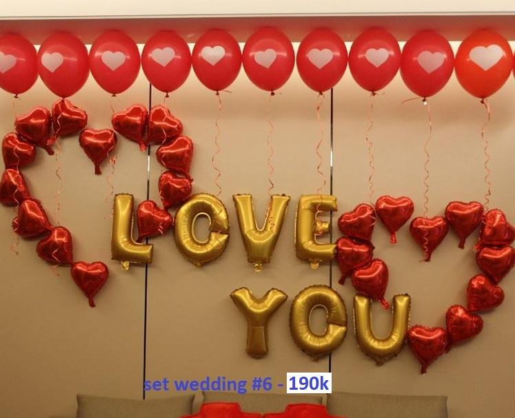 Set wedding #6 bong bóng kiếng trang trí 31 món (LOVE YOU)