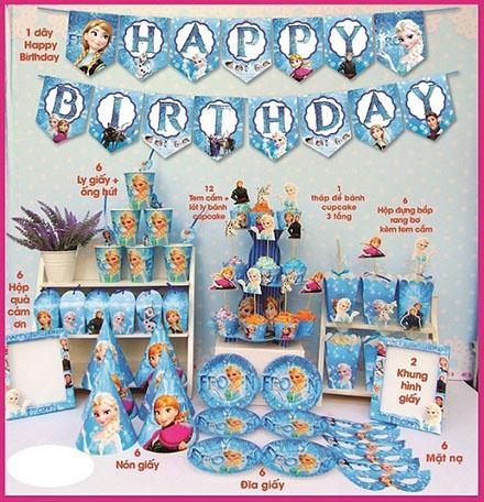 Bộ phụ kiện trang trí sinh nhật theo chủ đề 11 món