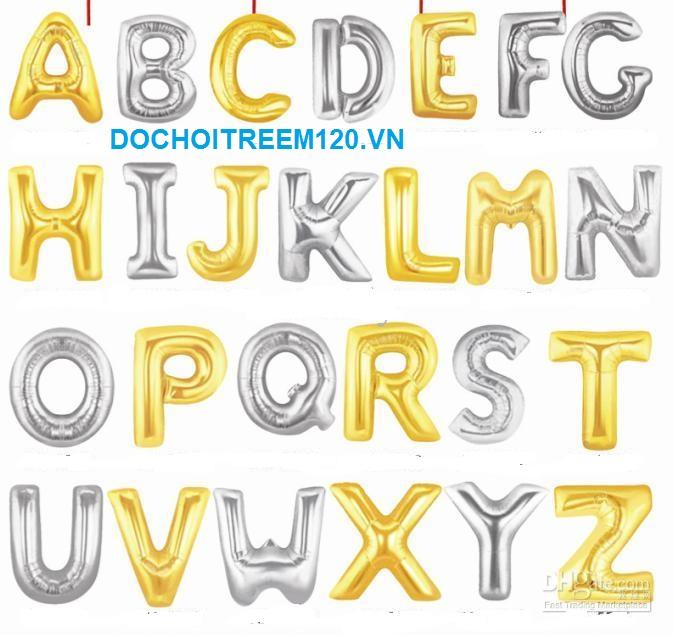 Bong bóng kiếng chữ cái 40cm (có chữ A-Z, màu vàng/bạc) 1 chữ