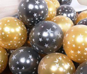 Set 10 bong bóng nhũ chấm sao (vàng/đen)
