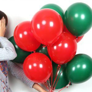 Bịch 50 bong bóng cao su tròn 25cm tông màu xanh đỏ trang trí Noel