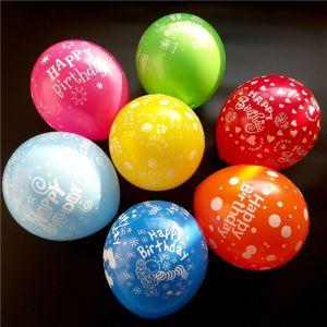 Set 10 bong bóng cao su tròn in chữ Happy Birthday 30cm