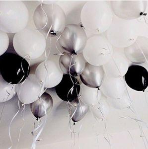Set 15 bong bóng cao su tròn 25cm phối màu đen - trắng - xám