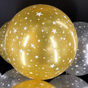Set 10 bong bóng nhũ chấm sao tông màu vàng/bạc 30cm