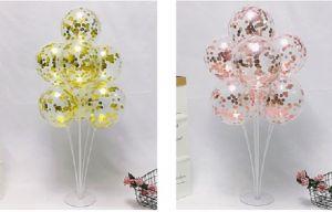 Set 10 bong bóng trong suốt + kim tuyến tròn (bạc/gold/rosegold)