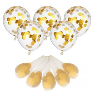 Set 5 bong bóng trong suốt confetti 30cm (có 6 màu)