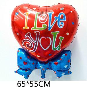 Bong bóng kiếng Trái tim thắt nơ I love you 65cm