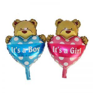Bong bóng kiếng hình gấu ôm tim mini 45cm (hồng/xanh)