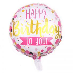 Bong bóng kiếng tròn Happy Birthday 45cm (có nhiều mẫu)