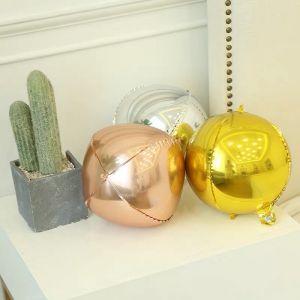 Bong bóng tròn 4D size 25cm (vàng/bạc/rosegold)