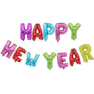 Bong bóng kiếng chữ HAPPY NEW YEAR đủ màu 40cm